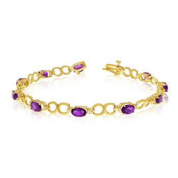 10K Yellow Gold Oval Amethyst and Diamond Bracelet