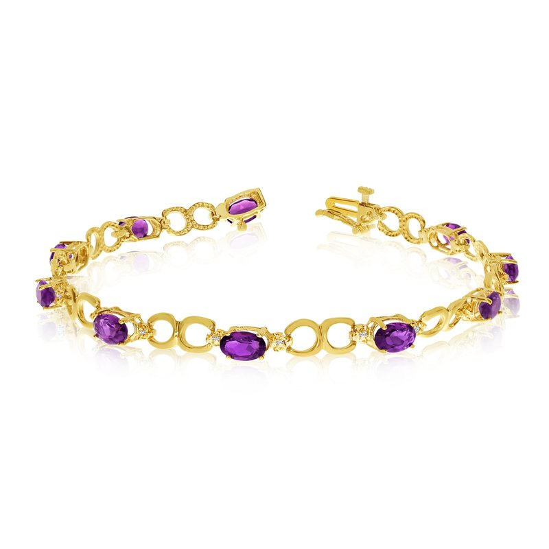 Color Merchants 10K Yellow Gold Oval Amethyst and Diamond Bracelet