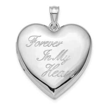 Sterling Silver Rhod-plated Forever in My Heart Ash Holder Heart Locket
