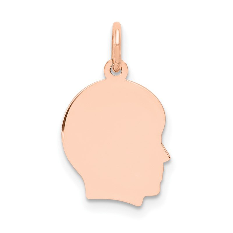 Lester Martin Online Collection 14k Rose Plain Small.013 Depth Facing Right Engraveable Boy Head Charm