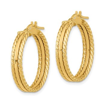 14k Polished Textured Hoops