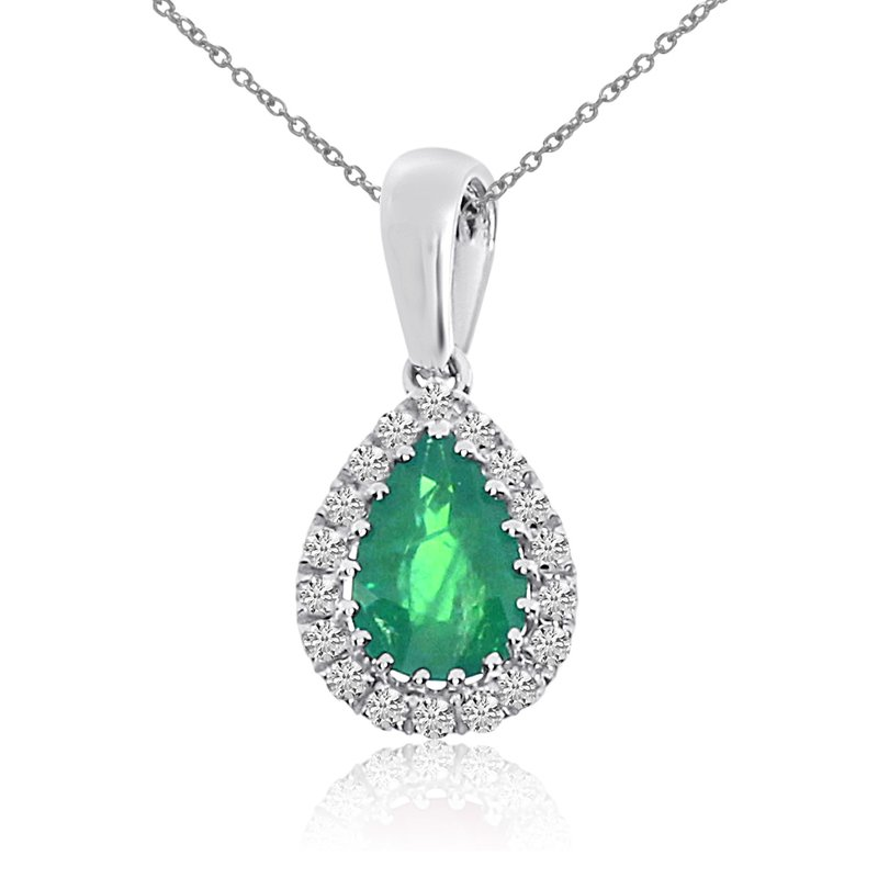 14k White Gold Emerald and Diamond Drop Pendant