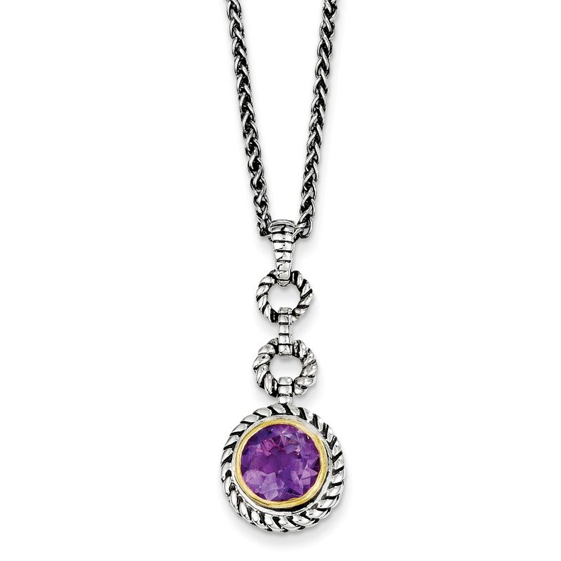 Shey Couture Sterling Silver w/Gold-tone Flash GP Amethyst Necklace