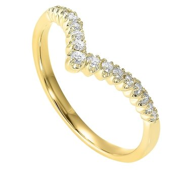 Diamond V-Shaped Heart Stackable Band in 14k Yellow Gold (⅕ ctw)