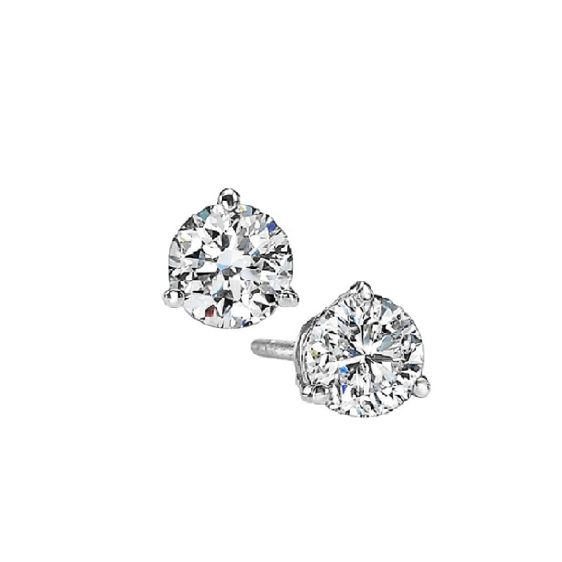 Gems One Martini Diamond Stud Earrings in 14K White Gold (1/8 ct. tw.) SI3 - G/H