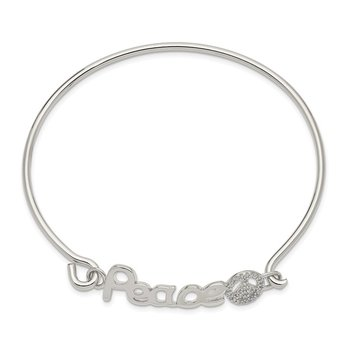Sterling Silver Polished CZ PEACE with Peace Sign Bangle