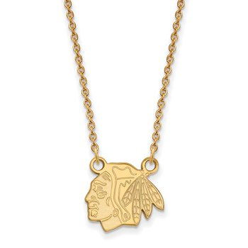 Gold-Plated Sterling Silver Chicago Blackhawks NHL Necklace