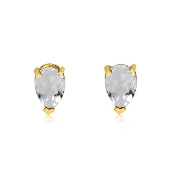 14k Yellow Gold White Topaz Pear-Shaped Earring