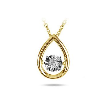 10K YG Soliate Dancing Diamond Pear Shape Pendant