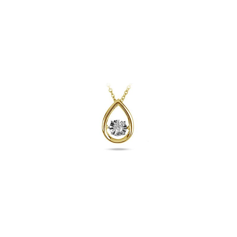 BB Impex 10K YG Soliate Dancing Diamond Pear Shape Pendant