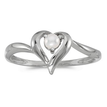 14k White Gold Pearl Heart Ring