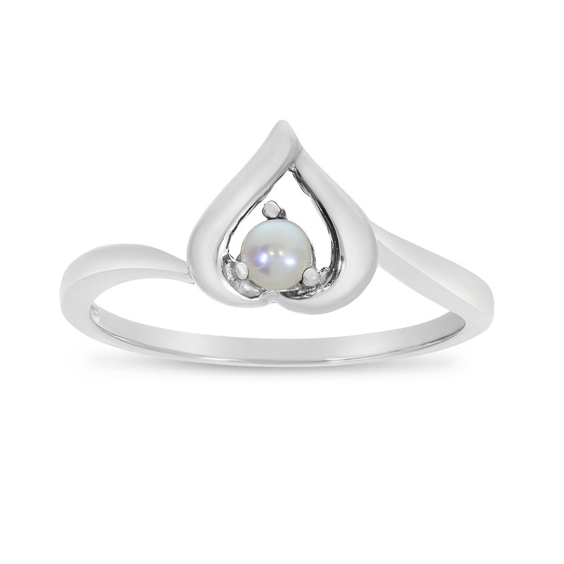 Color Merchants 14k White Gold Freshwater Cultured Pearl Heart Ring