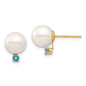 14K 8-8.5mm White Round FW Cultured Pearl Swiss Blue Topaz Post Earrings