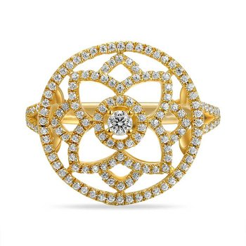 14K flower motif ring with 167 Diamonds 0.56CT