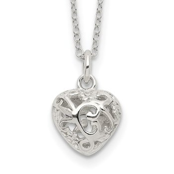 Sterling Silver Polished Puffed Filigree Heart 18 inch Necklace