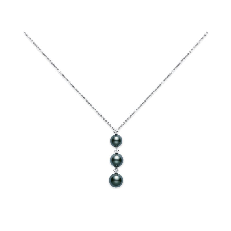 Mikimoto Three Pearl Drop Black South Sea Cultured Pearl Pendant