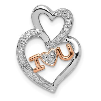 Sterling Silver Rhodium Diam.s Rose Gold Plated I HEART U Pendant