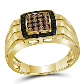 10kt Yellow Gold Mens Round Cognac-brown Black Color Enhanced Diamond Square Cluster Band Ring 1/2 Cttw