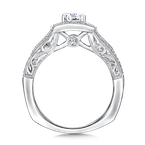 Valina Cushion shape halo mounting .43 ct. tw., 1/2 ct. round center.