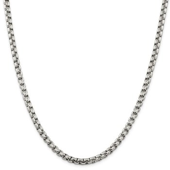 Sterling Silver 5.2mm Round Box Chain