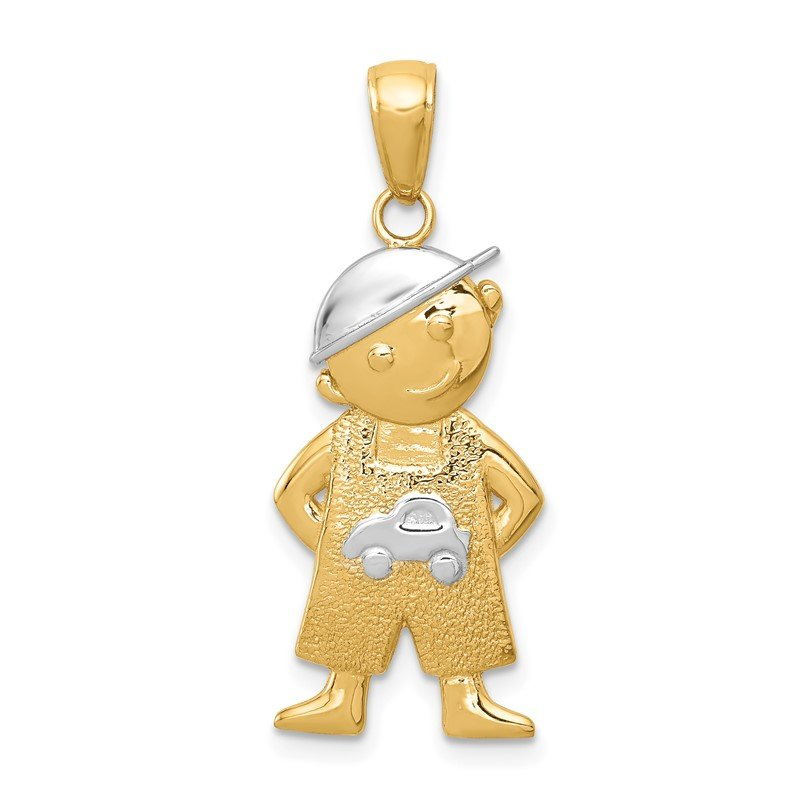 Quality Gold 14k and Rhodium Boy w/Hands in Pockets Pendant