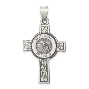 Sterling Silver Antiqued, Textured and Polished St. Michael Pendant
