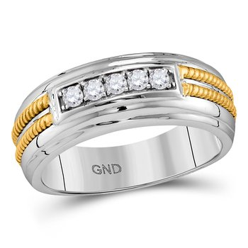 10kt White Gold Mens Round Pave-set Diamond Double Rope Wedding Band 1/4 Cttw