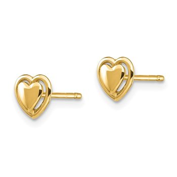 14K Heart Interchangeable Jacket Designs Post Earrings