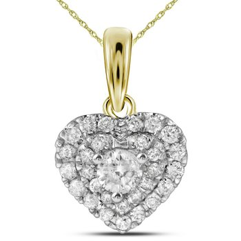 14kt Yellow Gold Womens Round Diamond Heart Love Pendant 1/3 Cttw
