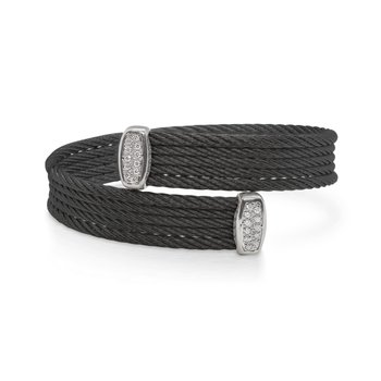 Black Cable Bypass Bracelet with 18tk White Gold & Diamonds