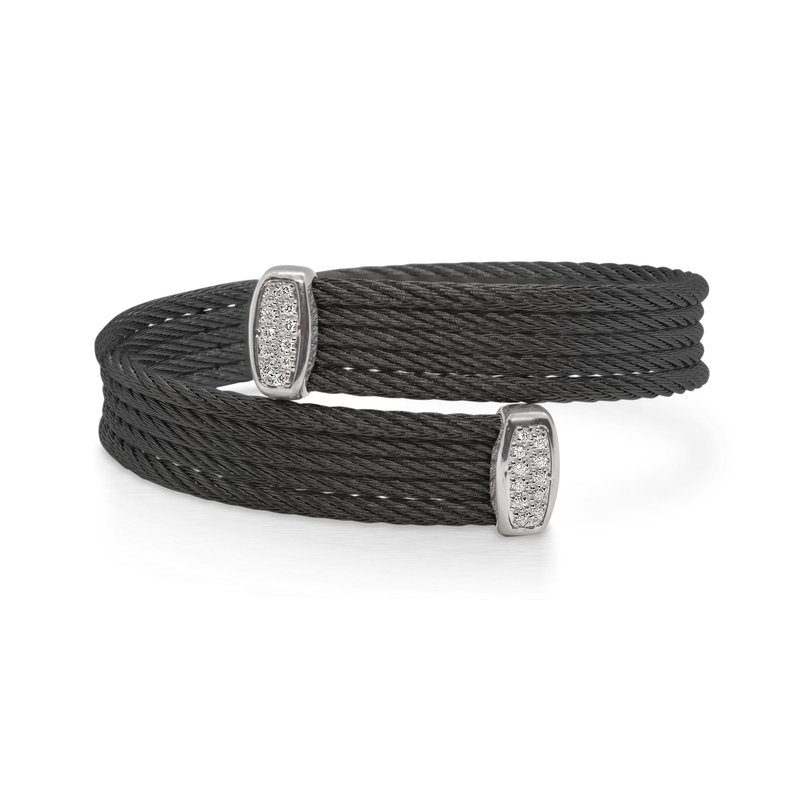 ALOR Black Cable Bypass Bracelet with 18tk White Gold & Diamonds