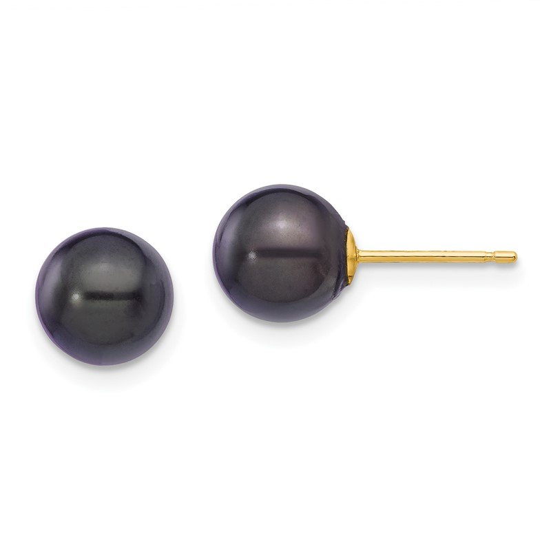 Quality Gold 14k 7-8mm Round Black Saltwater Akoya Cultured Pearl Stud Post Earrings
