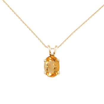 14k Yellow Gold Oval Citrine Pendant