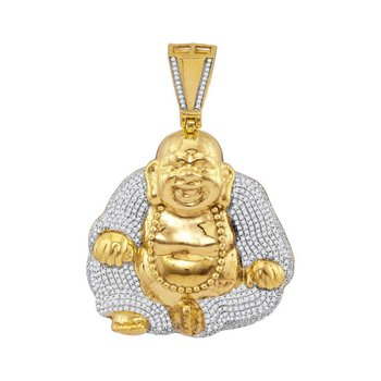 10kt Yellow Gold Mens Round Diamond Laughing Buddha Hotei Charm Pendant 1-3/4 Cttw