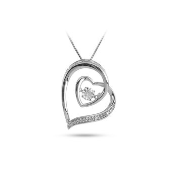 925 SS and Dancing Diamond  Heart Pendant in Miracle Setting