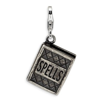 Sterling Silver 3-D Antiqued Spells Book w/Lobster Clasp Charm