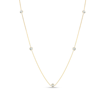 18KT GOLD NECKLACE WITH 5 DIAMOND STATIONS
