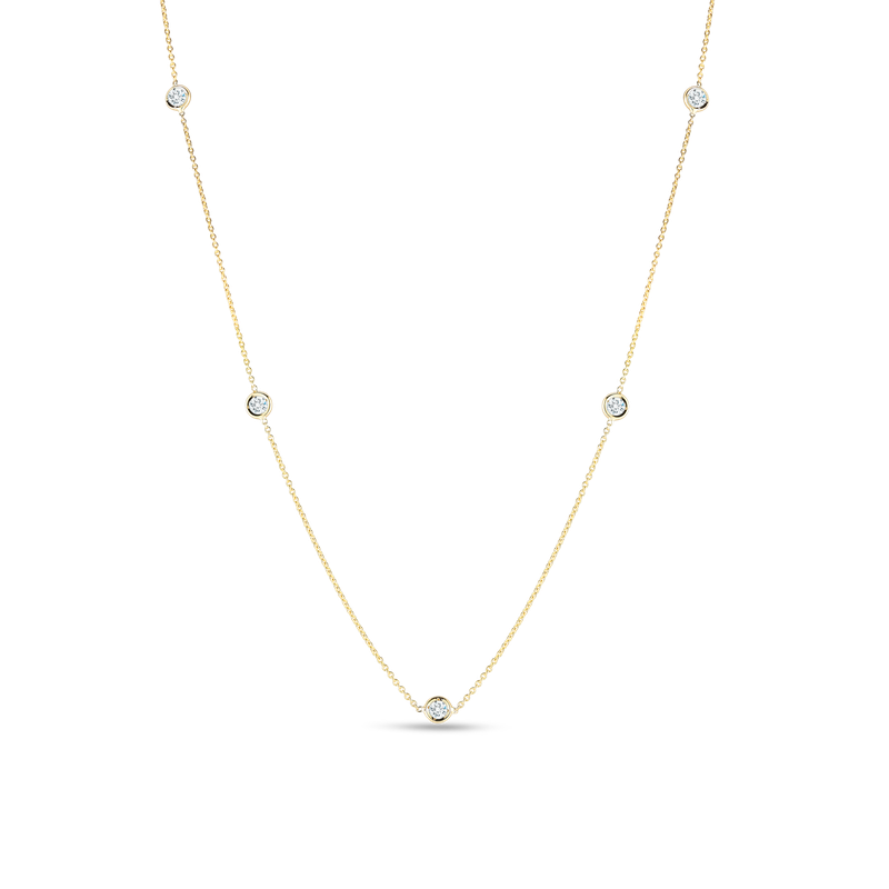 Roberto Coin 18Kt Gold Necklace With 5 Diamond Stations