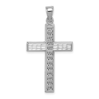 Sterling Silver Rhodium-plated Diamond Cut Cross Pendant