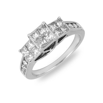 14K WG Diamond Round and Princess Cut Invisible Setting Ring