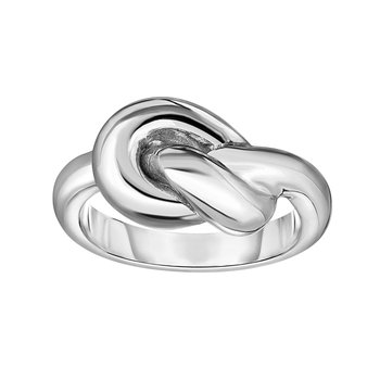 Silver Polished Love Knot Ring