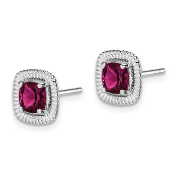 Sterling Silver Rhod-plat Rhodolite Garnet Square Post Earrings