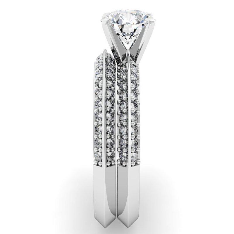Baskin and Braw: Knife Edge Engagement Ring with Matching Wedding Band