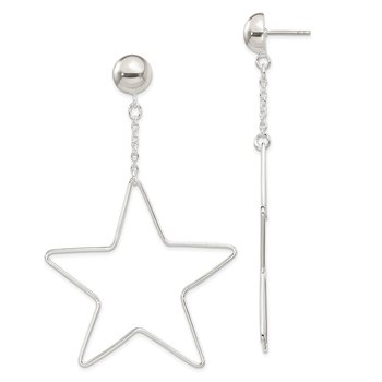 Sterling Silver Star Dangle Post Earrings