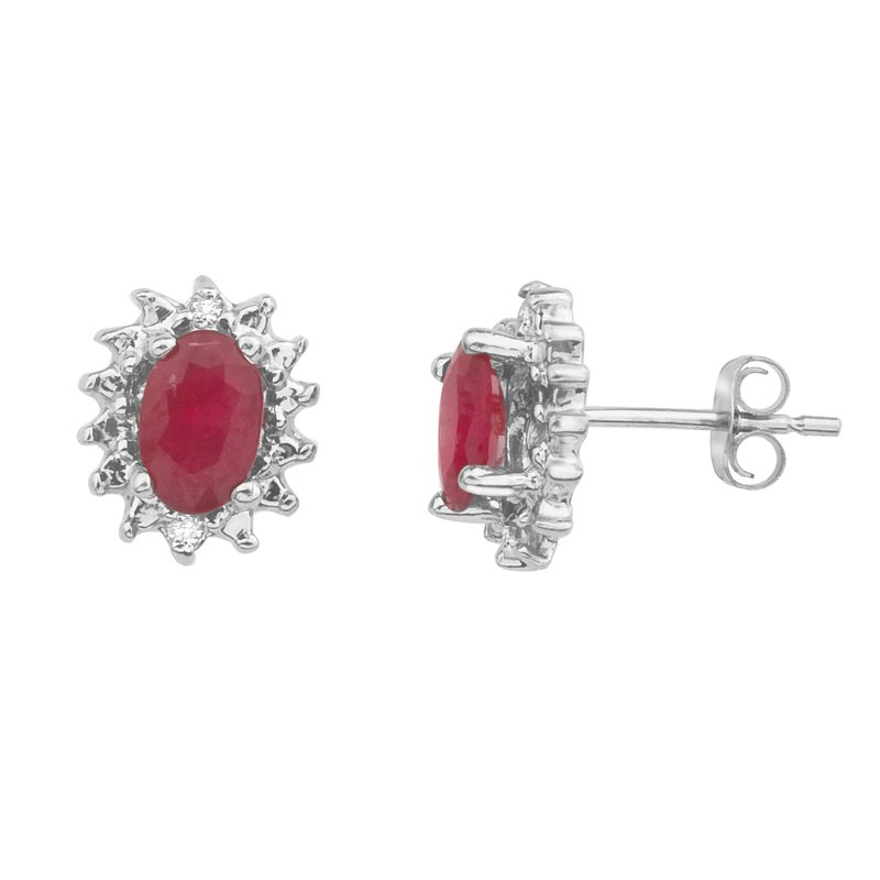 Color Merchants 10k White Gold Ruby and Diamond Earrings