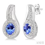 ASHI oval shape silver gemstone & diamond earrings