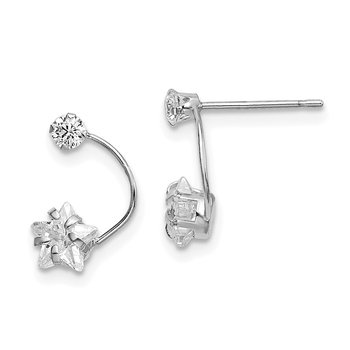 14k White Gold Polished Shooting Star CZ Post Earrings