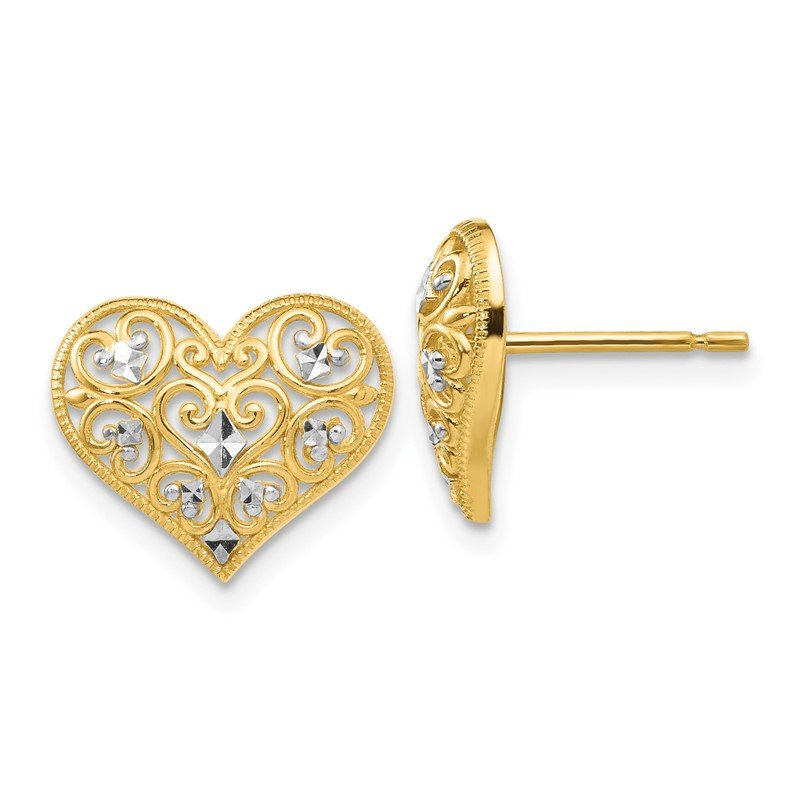 Quality Gold 14k Yellow Gold & Rhodium Fancy Heart Post Earrings