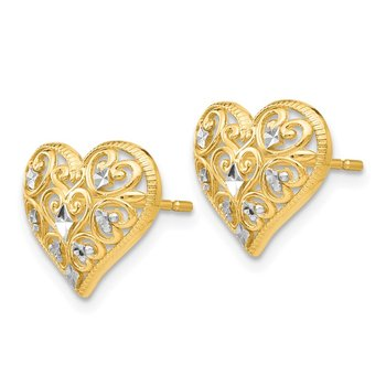 14k Yellow Gold & Rhodium Fancy Heart Post Earrings