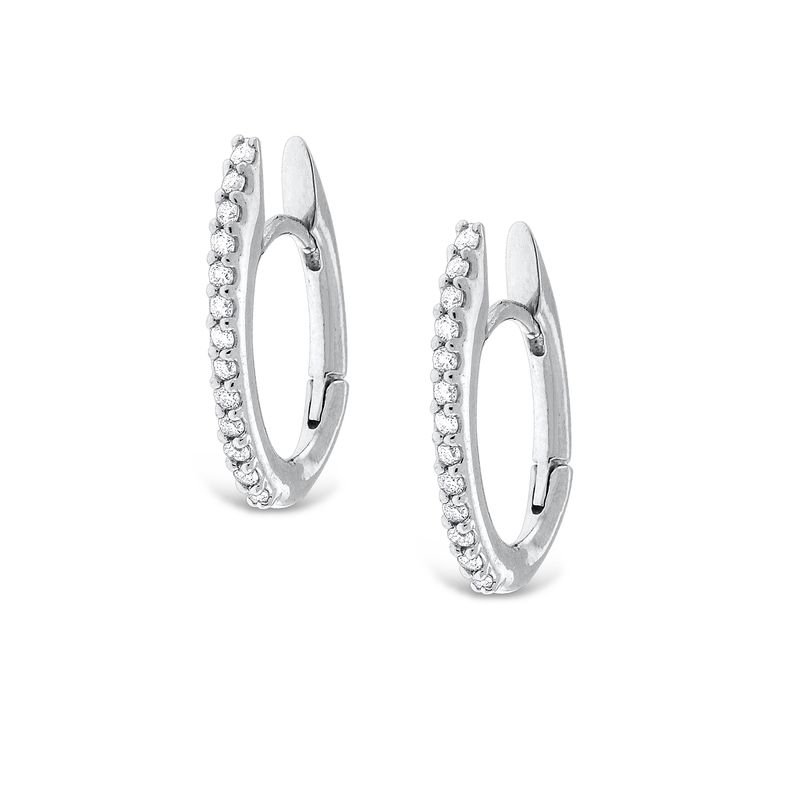 KC Designs Diamond Oval Shape Hoop Earrings in 14K White Gold with 26 Diamonds Weighing  .20ct tw